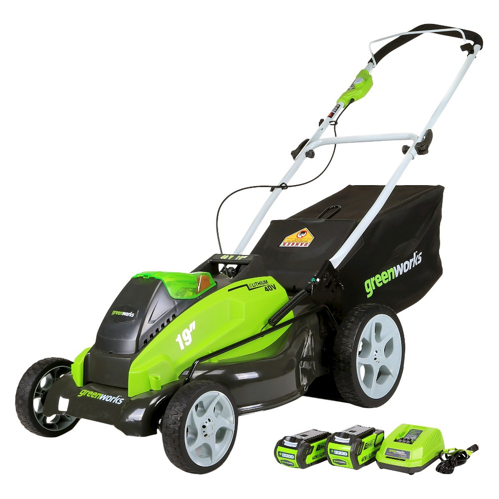 G-Max 40V 19-Inch Cordless Lawn Mower Includes 2 Batteries and Charger, Exotic Green
