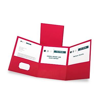 Oxford Tri-Fold Folder w/3 Pockets Holds 150 Letter-Size Sheets Red 59811