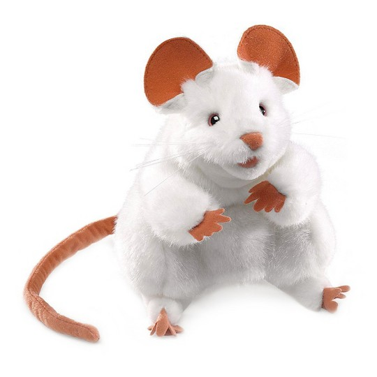 Folkmanis White Mouse Hand Puppet image number null