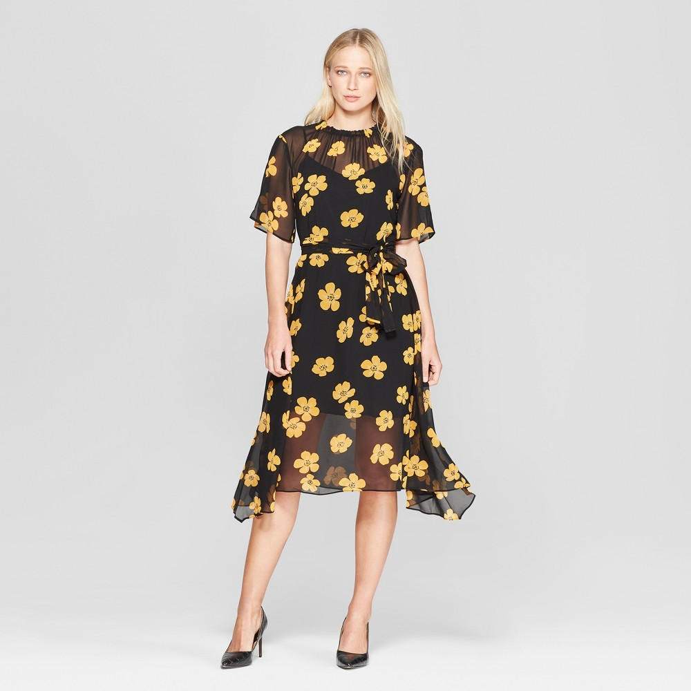 Women's Floral Print 3/4 Sleeve Belted Flowy Midi Dress - Who What Wear Black/Yellow L