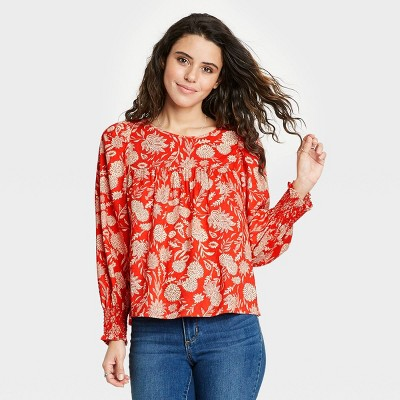 Women's Floral Print Balloon Long Sleeve Blouse - Universal Thread™