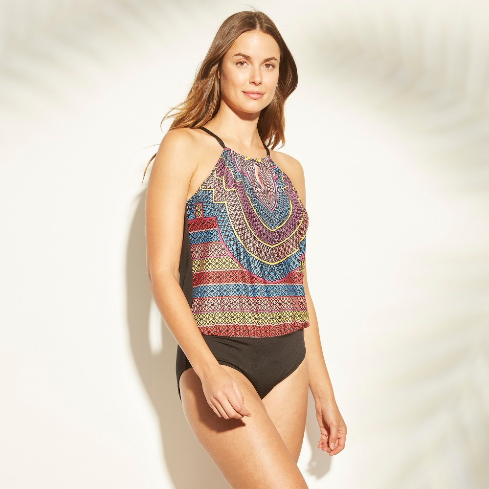 Image of Women's High Neck Blouson One Piece Swimsuit - Clean Water Tribal Print M, Size: Medium, MultiColored