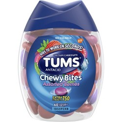 TUMS Chewy Bites Extra Strength Antacid Assorted Berry 60ct