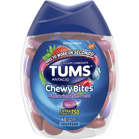 TUMS Chewy Bites Extra Strength Antacid Assorted Berry 60ct - image 1 of 5