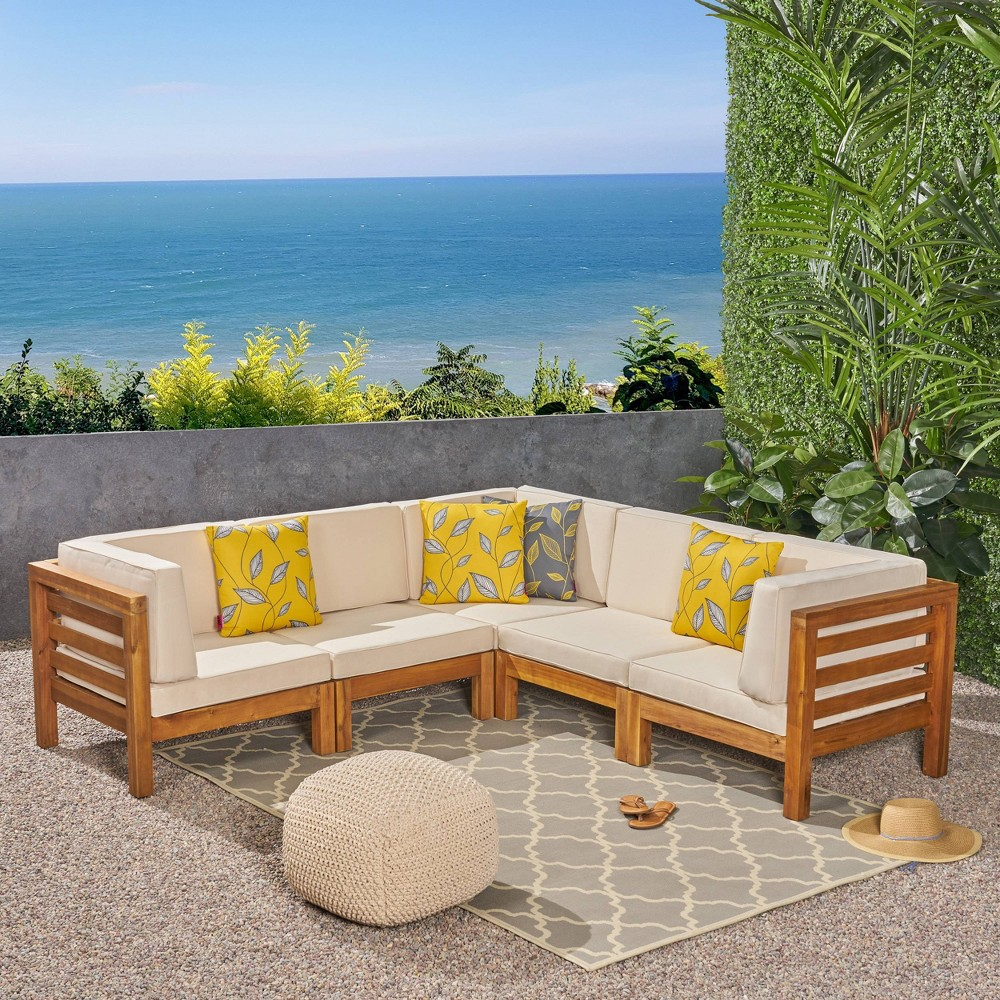 Oana 5pc Acacia Wood V-Shaped Sectional Sofa Set Teak/Beige (Brown/Beige) - Christopher Knight Home