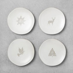 4ct Seasonal Appetizer Plates Holiday Motifs Sour Cream - Hearth & Hand™ with Magnolia