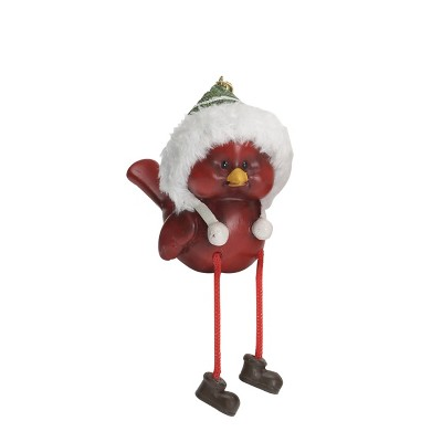 Transpac Resin 6 in. Red Christmas Holiday Hat Bird Shelf Sitter
