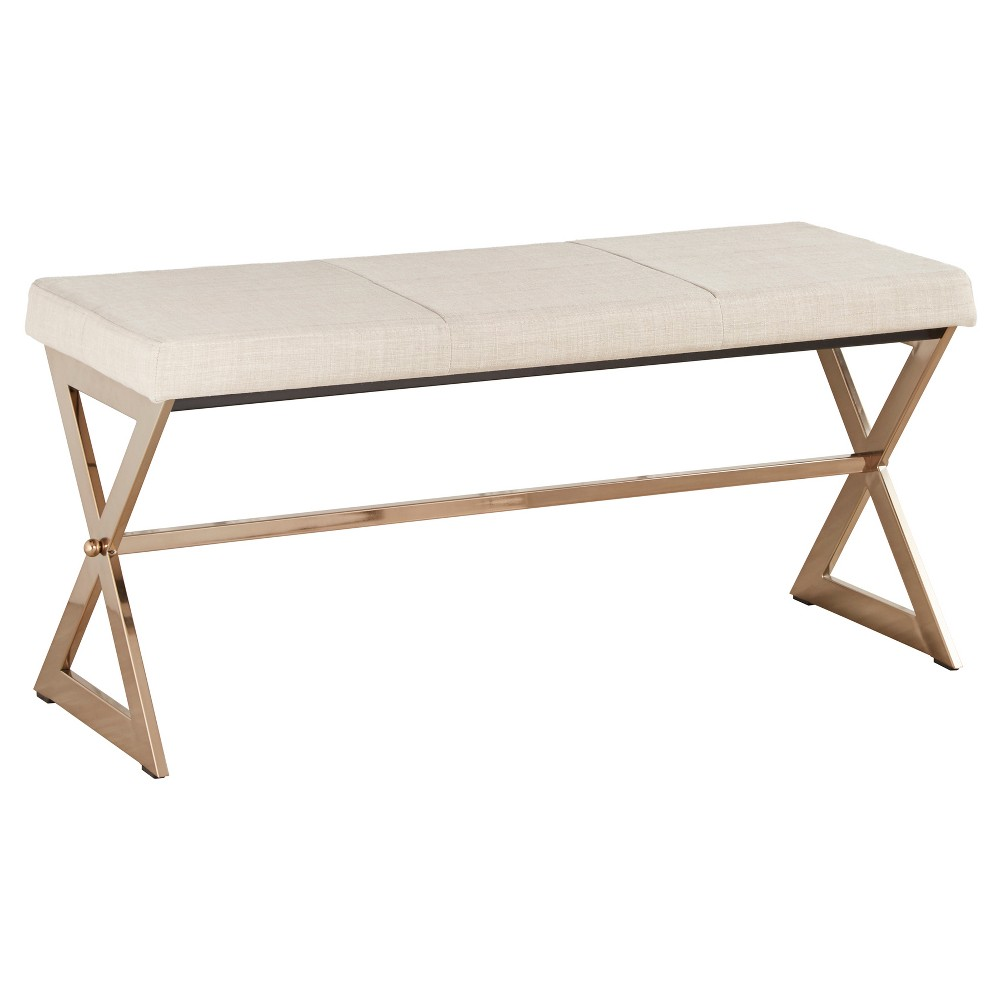 Ornelas Champagne Gold Metal Base Bench - Oatmeal - Inspire Q, New Oat