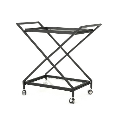 Sherianne Industrial Iron Bar Cart Black - Christopher Knight Home