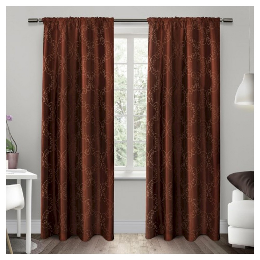 Set of 2 / Pair Como Rod Pocket Window Curtain Panels Spice (54