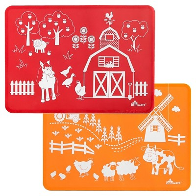 "15"" x 11"" 2pk Silicone Barn Yard Friends Placemats Red/Orange - Brinware"