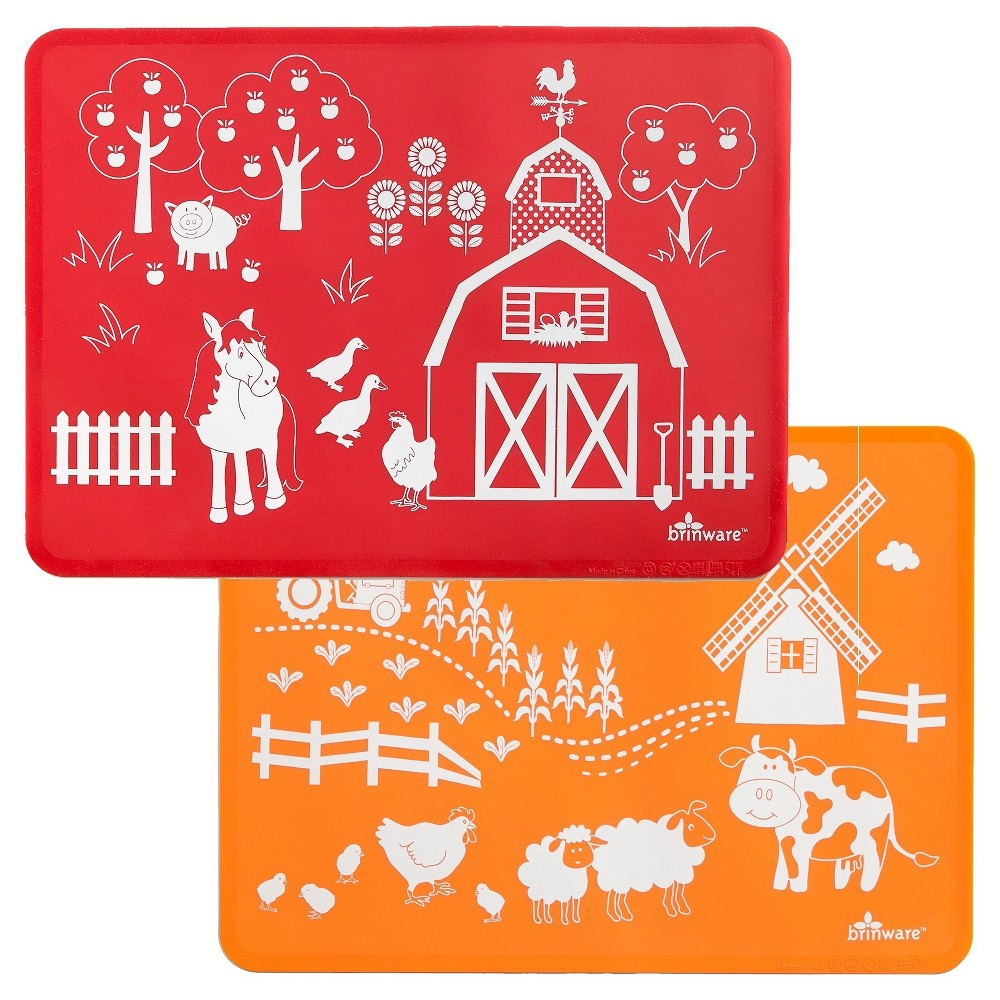 "Image of ""15"""" x 11"""" 2pk Silicone Barn Yard Friends Placemats Red/Orange - Brinware, Orange Red"""