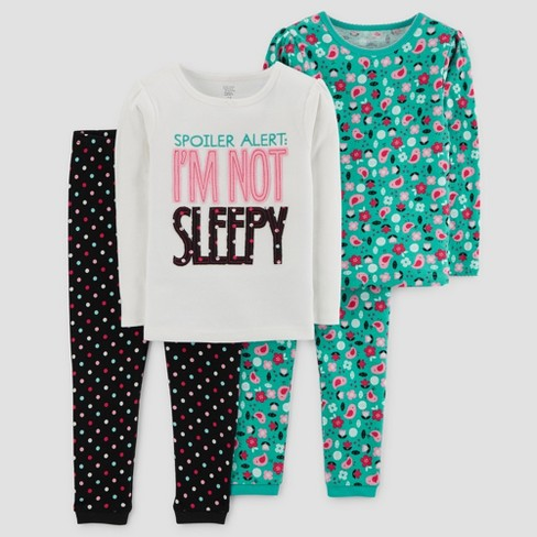 Baby Girls' 4pc I'm Not Sleepy Long Sleeve Cotton Pajama Set - Just One You™ Made by Carter's® White - image 1 of 1