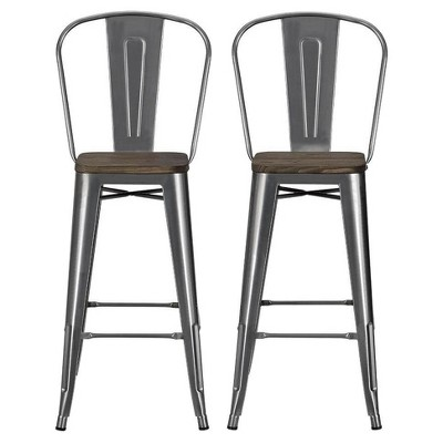 "Set of 2 30"" Lio Metal Barstools with Wood Seat - Room & Joy"
