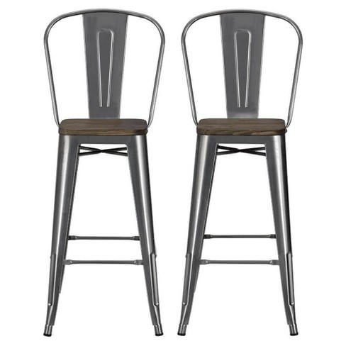 Luxor 30 Metal Bar Stool With Wood Seat Set Of 2 Dorel Home