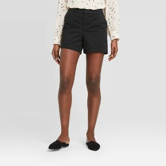 """Women's Casual Fit High-Rise 5"""" Chino Shorts - A New Day™ Black 12"""