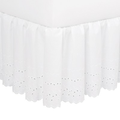 White Eyelet 14  Bed Skirt (Queen)