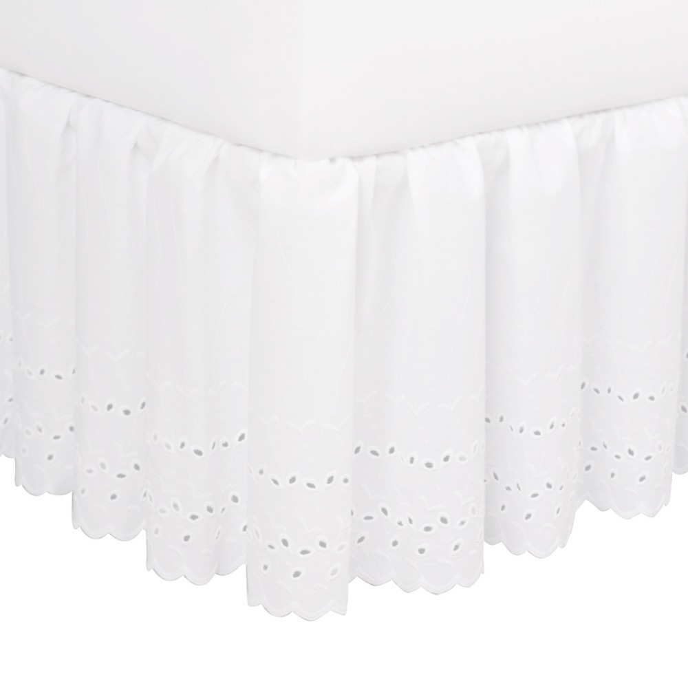 "Image of ""White Eyelet 14"""" Bed Skirt (Queen)"""