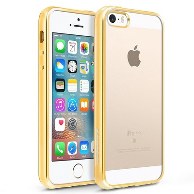 BasAcc Clear TPU Rubber Back Cover with Gold Chrome Edge Bumper Compatible with Apple iPhone SE / 5S / 5