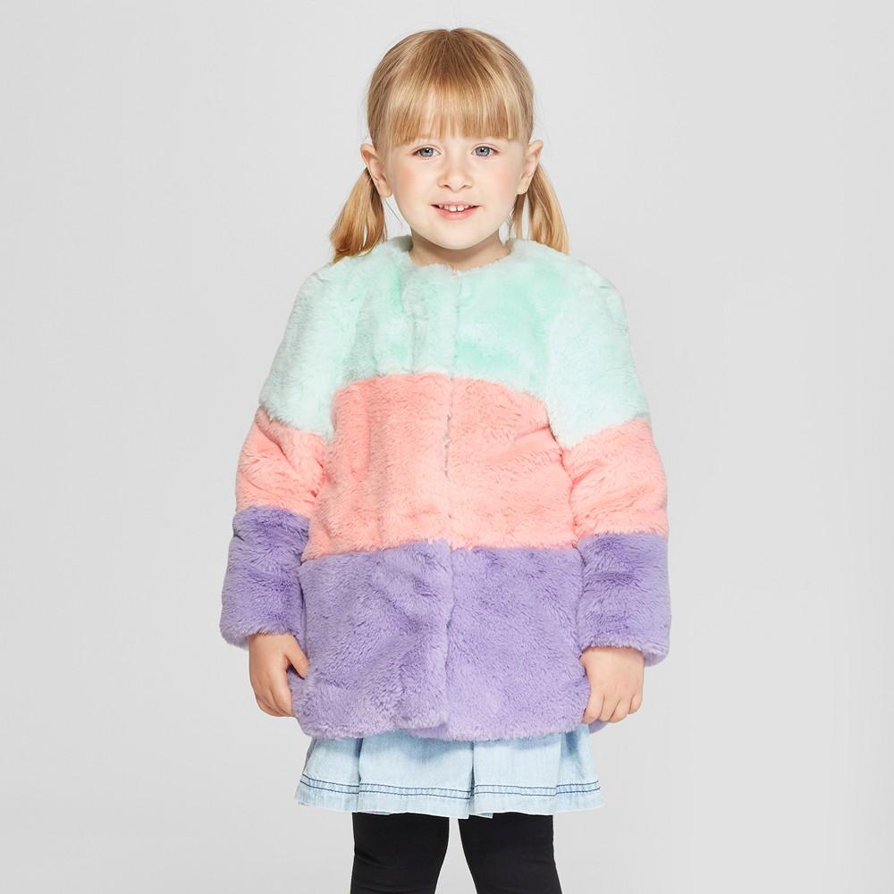 Toddler Girls' Colorblock Faux Fur Coat - Cat & Jack Aqua 4T, Green