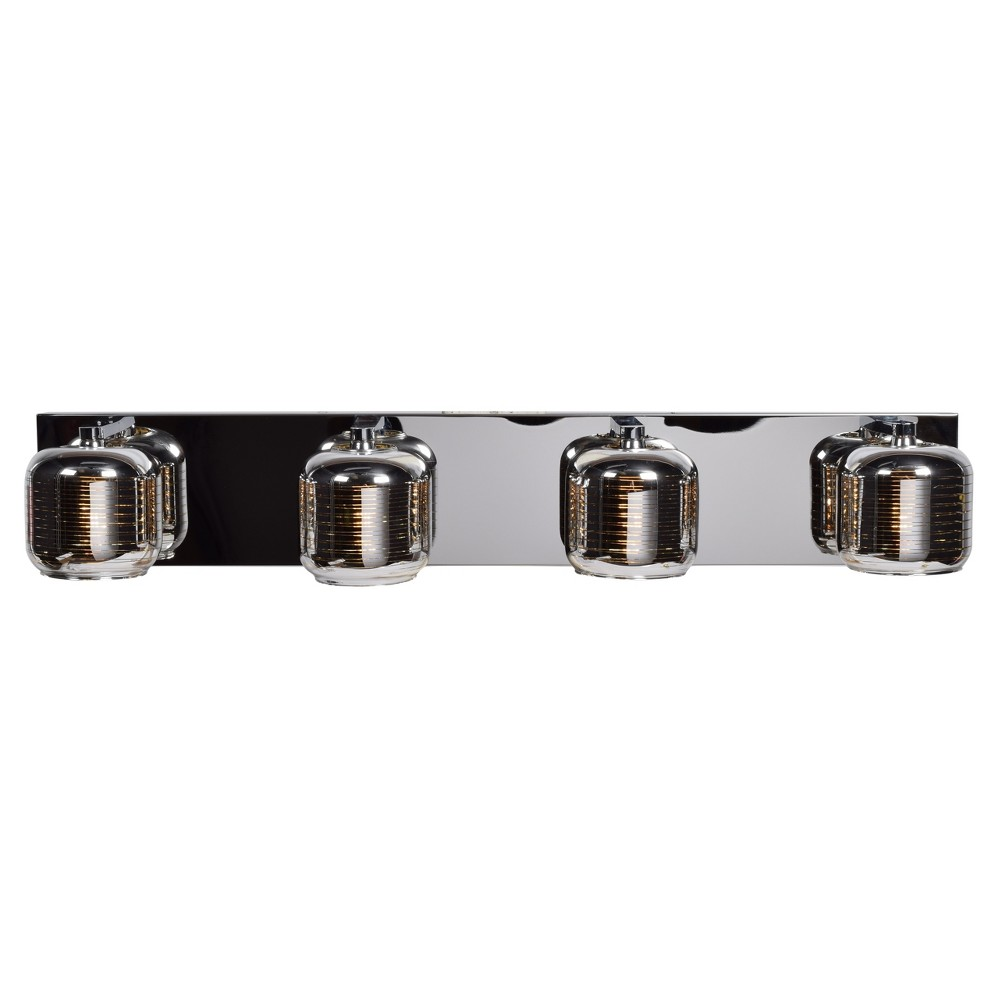 Dor Led 4-Light Vanity Light - Mirrored Stainless Steel (Silver) Outer, Smoked Amber Glass Inner Shade