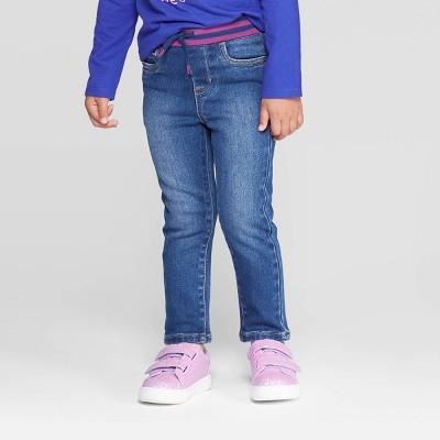Toddler Girls' Pull On Cozy Skinny Jeans - Cat & Jack™ Dark Blue 12M
