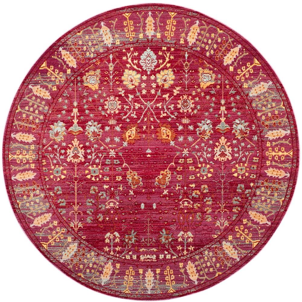 6'7 Floral Loomed Round Area Rug Fuchsia - Safavieh, Pink/Multi-Colored