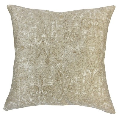 """Beige Paisley Sequin Square Throw Pillow (18""""x18"""") - The Pillow Collection"""