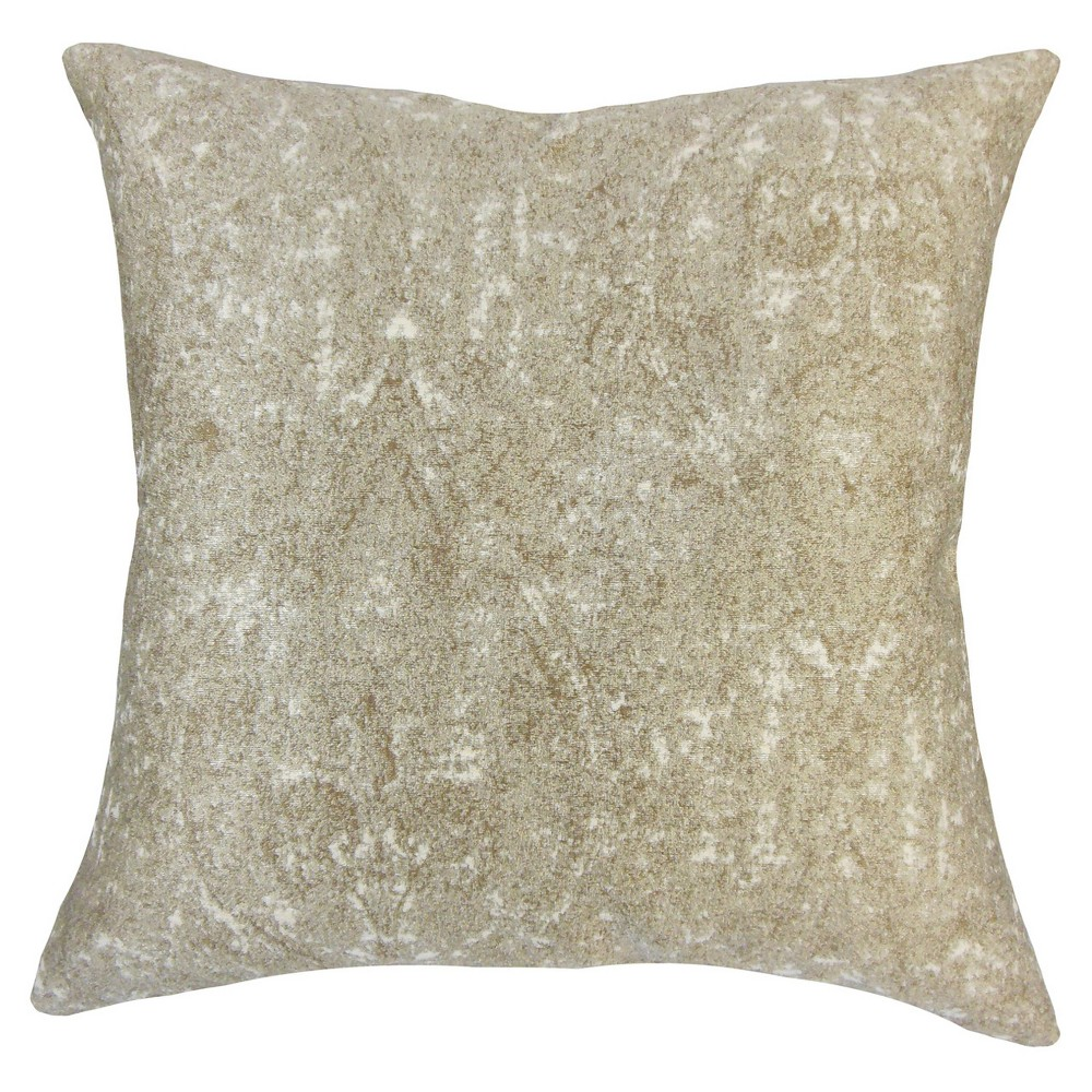 "Image of ""Beige Paisley Sequin Square Throw Pillow (18""""x18"""") - The Pillow Collection"""