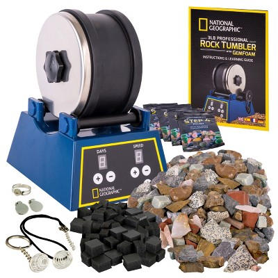 NATIONAL GEOGRAPHIC Rock Tumbler Kit, 3LB Extra Large Capacity, 3LB Rough Gemstones, 4 Polishing Grits, Jewelry Fastenings, Educational STEM Science Kit