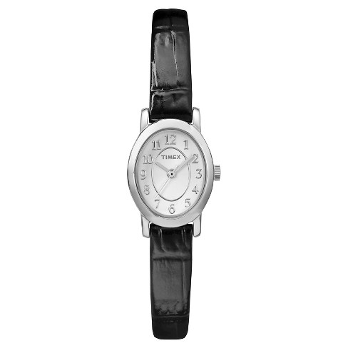 Women's Timex Cavatina® Watch with Leather Strap - Silver/Black TW2P60400JT - image 1 of 1