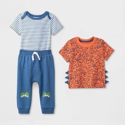 Baby Boys' 3pc Cardigan Dino Top & Bottom Set - Cat & Jack™ Blue/Orange 3-6M