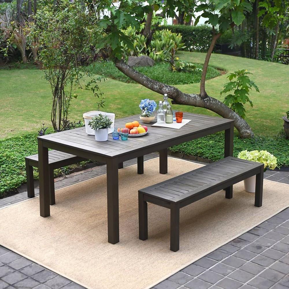 Westlake 3pc Wood Outdoor Patio Dining Set - Dark Gray - Cambridge Casual