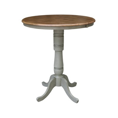 Kyle Round Top Pedestal Table with Drop Leaf Hickory Brown/Stone Gray - International Concepts