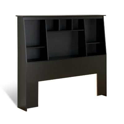 Full/Queen Tall Slant Back Bookcase Headboard Black - Prepac