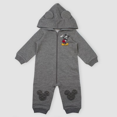Baby Boys' Disney Mickey Mouse Hooded Zip Romper - Gray 3M