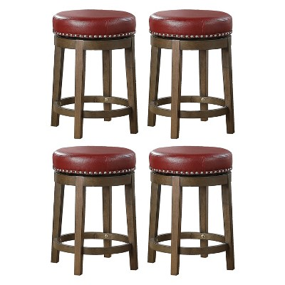 Lexicon Whitby 25 Inch Counter Height Round Swivel Seat Stool, Red (4 Pack)