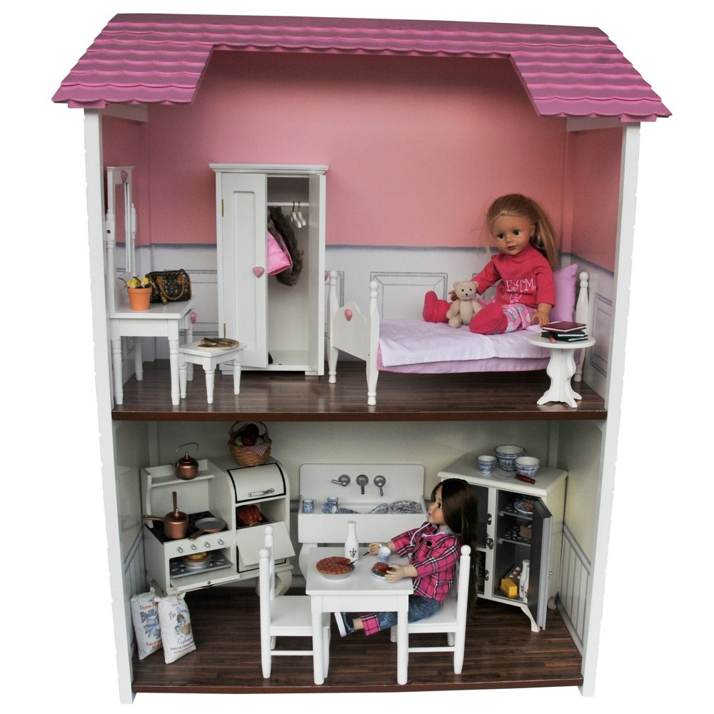 The Queen's Treasures Fold & Store 2-Story Doll Townhouse For 18 Dolls