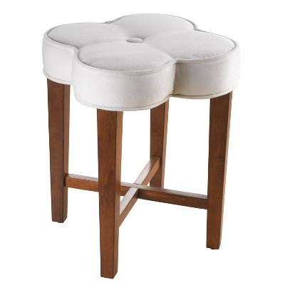 "20.5"" Clover Upholstered Wood Vanity Stool Cherry/White - Hillsdale Furniture"