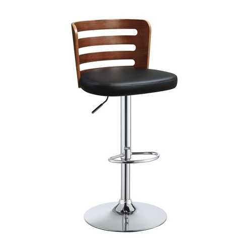 Comfortable Adjustable Stool with Swivel Black/Walnut Brown - Benzara - image 1 of 1