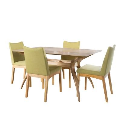 Dimitri 5pc 59  Curved Leg Dining Set Oak Brown/Green Tea - Christopher Knight Home