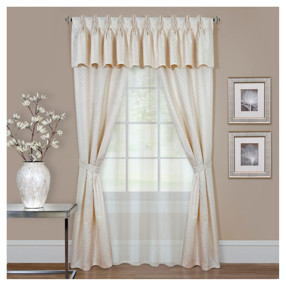 Claire 6 Pc Window Valence and Curtain Set Ivory (55