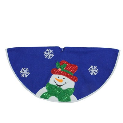 "Northlight 20"" Blue and White Embroidered Snowman Mini Christmas Tree Skirt"