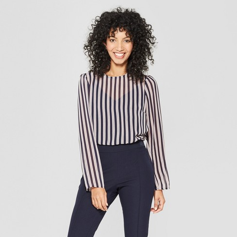 3261b1c3489571 Women's Striped Long Sleeve Sheer Blouse - A New Day™ Navy : Target