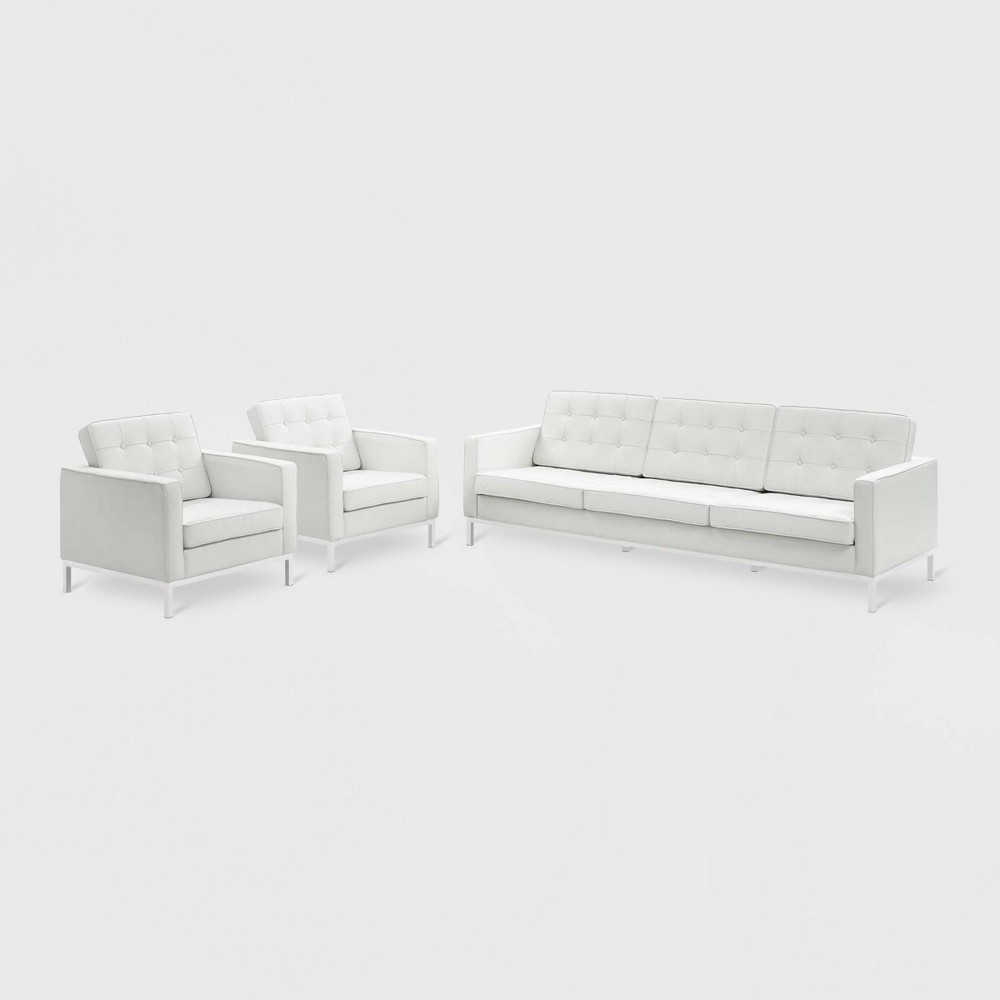 Image of 3pc Loft Leather Sofa & Armchair Set White - Modway