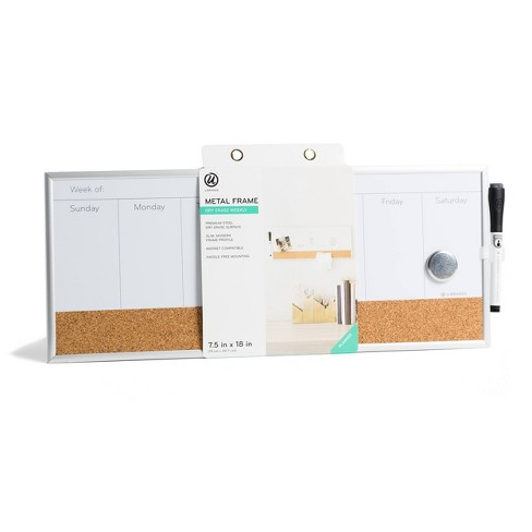"""U Brands 7.5""""x18"""" Magnetic Dry Erase Weekly Calendar Board - image 1 of 4"""