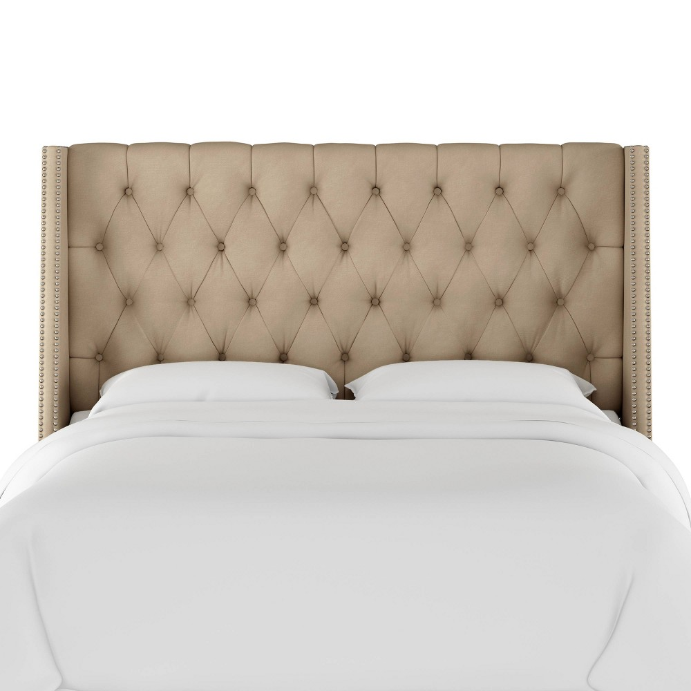 33fc7bca3597 King Diamond Tufted Wingback Headboard Tan Velvet with Pewter Nail Buttons  Skyline Furniture