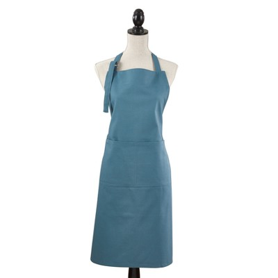 "35""x28"" Denim Classic Cuisine Cotton Cooking Apron Turquoise - Saro Lifestyle"