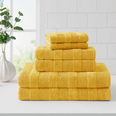 6pc Quick Dry Bath Towel Set Yellow - Cannon