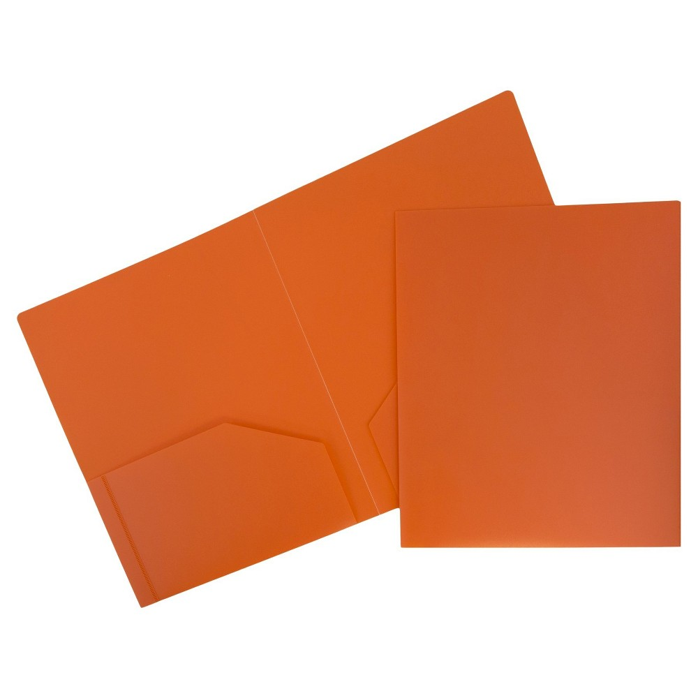 Image of 6pk 2 Pocket Heavy Duty Plastic Folder Orange - JAM Paper